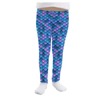 Mermaid skin - Girls Leggings - Fantasy, iridescent bright pink blue scales of dragon, fish tail, mermaid lover gift, sea creature, ocean - Tiana Lofd design