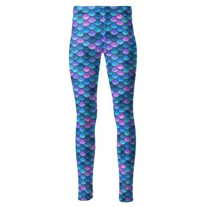 Mermaid skin - High Waisted Leggings - Fantasy, iridescent bright pink blue scales of dragon, fish tail, mermaid lover gift, sea creature, ocean - Tiana Lofd design