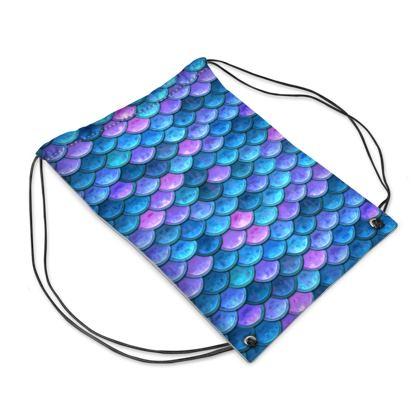 Mermaid skin - Swim Bag - Fantasy, iridescent bright pink blue scales of dragon, fish tail, mermaid lover gift, sea creature, ocean - Tiana Lofd design