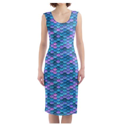 Mermaid skin - Bodycon Dress - Fantasy, iridescent bright pink blue scales of dragon, fish tail, mermaid lover gift, sea creature, ocean - Tiana Lofd design
