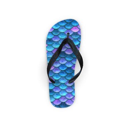 Mermaid skin - Flip Flops - Fantasy, iridescent bright pink blue scales of dragon, fish tail, mermaid lover gift, sea creature, ocean - Tiana Lofd design