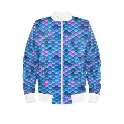 Mermaid skin - Ladies Bomber Jacket - Fantasy, iridescent bright pink blue scales of dragon, fish tail, mermaid lover gift, sea creature, ocean - Tiana Lofd design