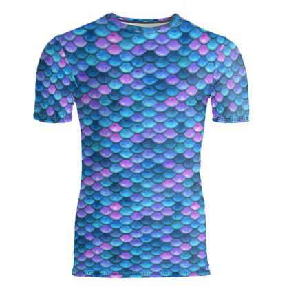 Mermaid skin - Slim Fit Mens T-Shirt - Fantasy, iridescent bright pink blue scales of dragon, fish tail, mermaid lover gift, sea creature, ocean - Tiana Lofd design