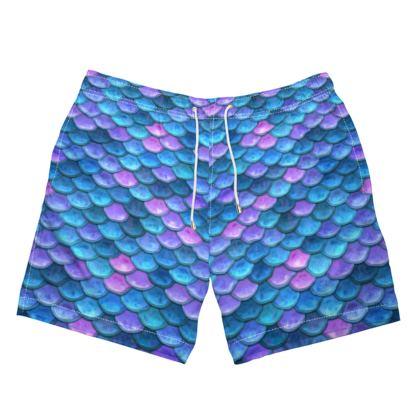 Mermaid skin - Mens Swimming Shorts - Fantasy, iridescent bright pink blue scales of dragon, fish tail, mermaid lover gift, sea creature, ocean - Tiana Lofd design