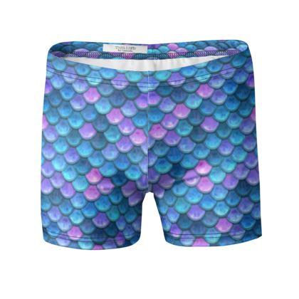 Mermaid skin - Swimming Trunks - Fantasy, iridescent bright pink blue scales of dragon, fish tail, mermaid lover gift, sea creature, ocean - Tiana Lofd design