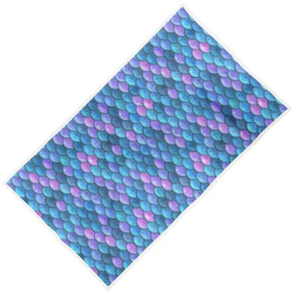 Mermaid skin - Towels - Fantasy, iridescent bright pink blue scales of dragon, fish tail, mermaid lover gift, sea creature, ocean - Tiana Lofd design