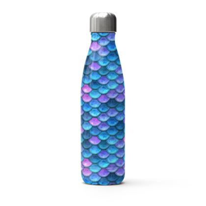 Mermaid skin - Stainless Steel Thermal Bottle - Fantasy, iridescent bright pink blue scales of dragon, fish tail, mermaid lover gift, sea creature, ocean - Tiana Lofd design