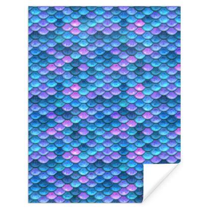 Mermaid skin - Gift Wrap - Fantasy, iridescent bright pink blue scales of dragon, fish tail, mermaid lover gift, sea creature, ocean - Tiana Lofd design