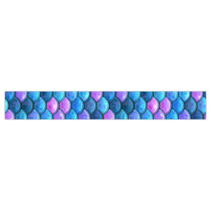 Mermaid skin - Printed Ribbon - Fantasy, iridescent bright pink blue scales of dragon, fish tail, mermaid lover gift, sea creature, ocean - Tiana Lofd design