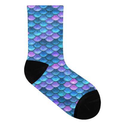 Mermaid skin - Socks - Fantasy, iridescent bright pink blue scales of dragon, fish tail, mermaid lover gift, sea creature, ocean - Tiana Lofd design