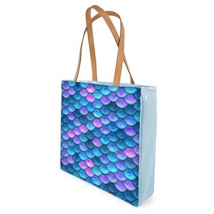 Mermaid skin - Beach Bag - Fantasy, iridescent bright pink blue scales of dragon, fish tail, mermaid lover gift, sea creature, ocean - Tiana Lofd design