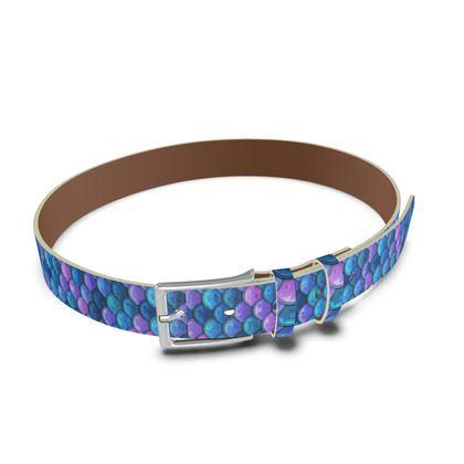 Mermaid skin - Leather Belt - Fantasy, iridescent bright pink blue scales of dragon, fish tail, mermaid lover gift, sea creature, ocean - Tiana Lofd design