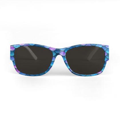 Mermaid skin - Sunglasses - Fantasy, iridescent bright pink blue scales of dragon, fish tail, mermaid lover gift, sea creature, ocean - Tiana Lofd design