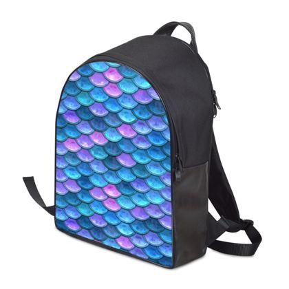 Mermaid skin - Backpack - Fantasy, iridescent bright pink blue scales of dragon, fish tail, mermaid lover gift, sea creature, ocean - Tiana Lofd design