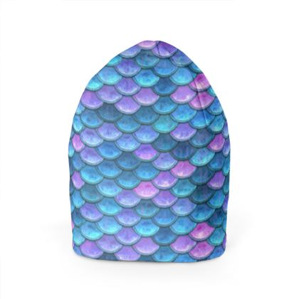 Mermaid skin - Beanie - Fantasy, iridescent bright pink blue scales of dragon, fish tail, mermaid lover gift, sea creature, ocean - Tiana Lofd design