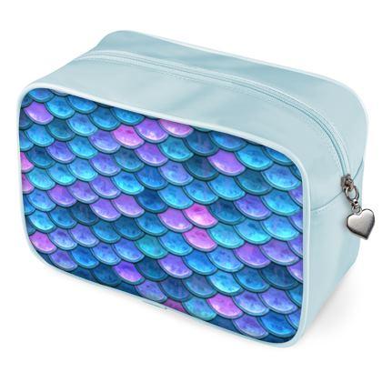 Mermaid skin - Wash Bags - Fantasy, iridescent bright pink blue scales of dragon, fish tail, mermaid lover gift, sea creature, ocean - Tiana Lofd design
