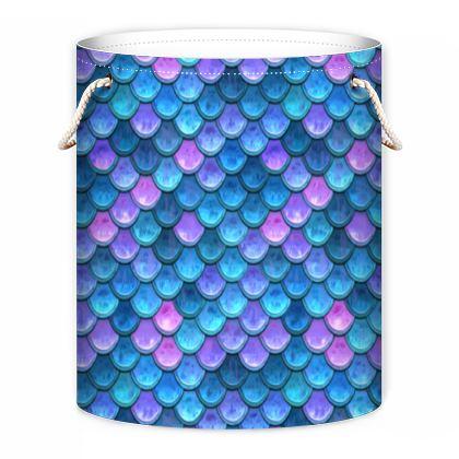 Mermaid skin - Laundry Bag - Fantasy, iridescent bright pink blue scales of dragon, fish tail, mermaid lover gift, sea creature, ocean - Tiana Lofd design