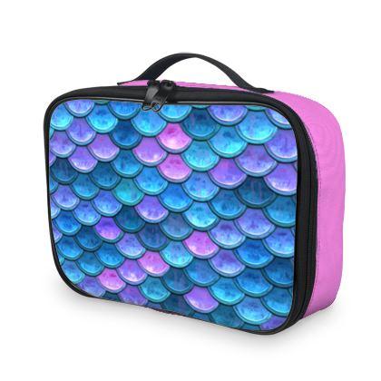 Mermaid skin - Lunch Bags - Fantasy, iridescent bright pink blue scales of dragon, fish tail, mermaid lover gift, sea creature, ocean - Tiana Lofd design