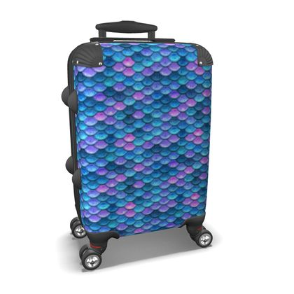 Mermaid skin - Suitcase - Fantasy, iridescent bright pink blue scales of dragon, fish tail, mermaid lover gift, sea creature, ocean - Tiana Lofd design