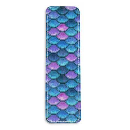 Mermaid skin - Leather Bookmarks - Fantasy, iridescent bright pink blue scales of dragon, fish tail, mermaid lover gift, sea creature, ocean - Tiana Lofd design