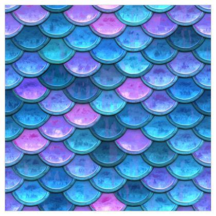 Mermaid skin - Fabric Printing - Fantasy, iridescent bright pink blue scales of dragon, fish tail, mermaid lover gift, sea creature, ocean - Tiana Lofd design