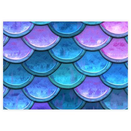 Mermaid skin - Fabric Sample Test Print - Fantasy, iridescent bright pink blue scales of dragon, fish tail, mermaid lover gift, sea creature, ocean - Tiana Lofd design