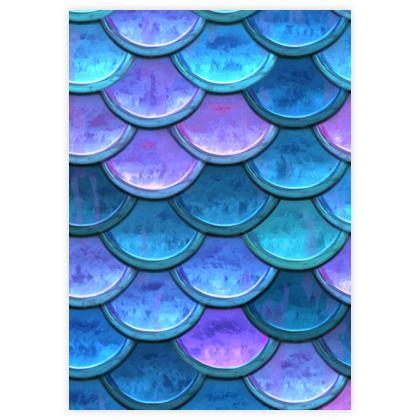 Mermaid skin - Leather Sample Test Print - Fantasy, iridescent bright pink blue scales of dragon, fish tail, mermaid lover gift, sea creature, ocean - Tiana Lofd design