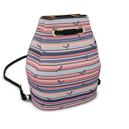 Bucket Backpack in Mag Stripes (Mediterranean Mandarin) ft Polka Mag