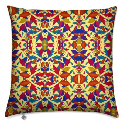 Cushions, Orange, Blue, Leaf  Diamond Leaves  Cracker