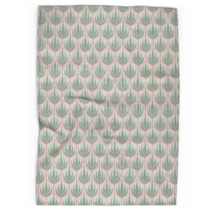 Palm Deco Pattern ~ Spring Succulents Tea Towel