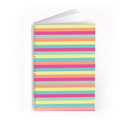 Candy Rainbow Stripes Spiral Notebook