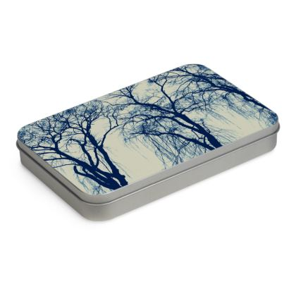 Blue Trees Tin Box Hinge Lid