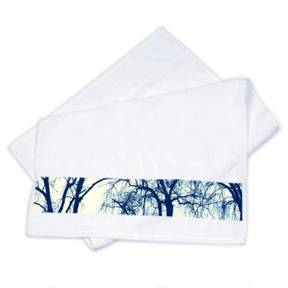 Blue Trees Strip Towels