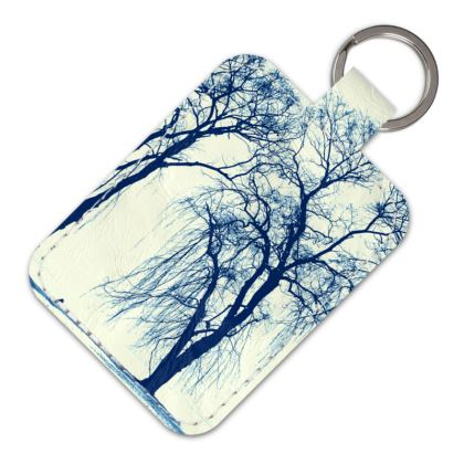 Blue Trees Leather Keyring