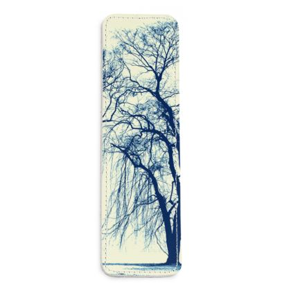Blue Trees x 3 Leather Bookmarks