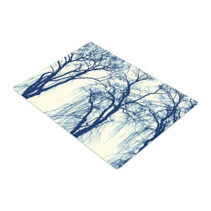 Blue Trees Glass Chopping Board