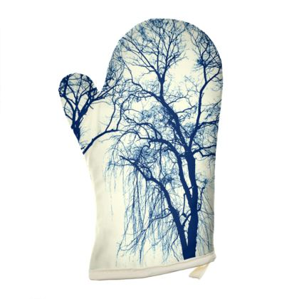 Blue Trees Oven Glove