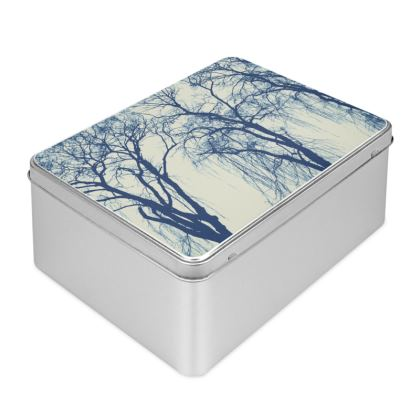 Blue Trees Biscuit Tin