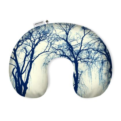Blue Trees Neck Pillow