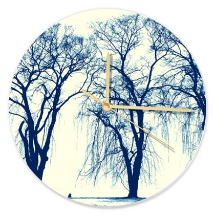 Blue Trees Round Clock