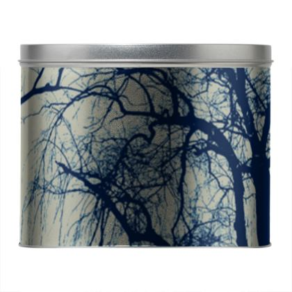Blue Trees Round Tin