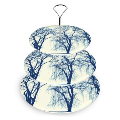Blue Trees Cake Stand