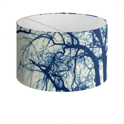 Blue Trees Drum Lamp Shade