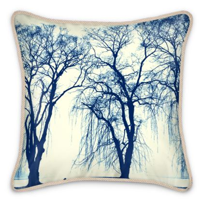 Blue Trees Silk Cushion