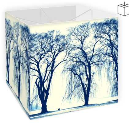 Blue Trees Square Lamp Shade