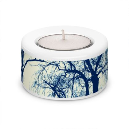 Blue Trees Tea Light Holder (x2)