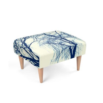 Blue Trees Footstool