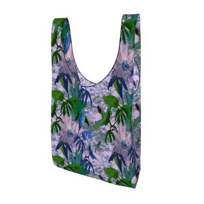 Parachute Shopping Bag Mauve, Turquoise, Flower  Passionflower  Tuscany