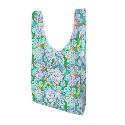 Parachute Shopping Bag, Turquoise, White, Leaf  Oaks  Marble
