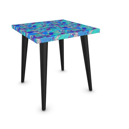 Side Table, Blue, Turquoise, Leaf  Cathedral Leaves  Turquoise Leaves